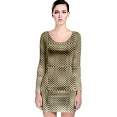 Fashion Style Glass Pattern Long Sleeve Bodycon Dress