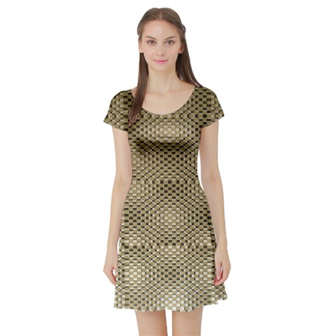 Fashion Style Glass Pattern Short Sleeve Skater Dress