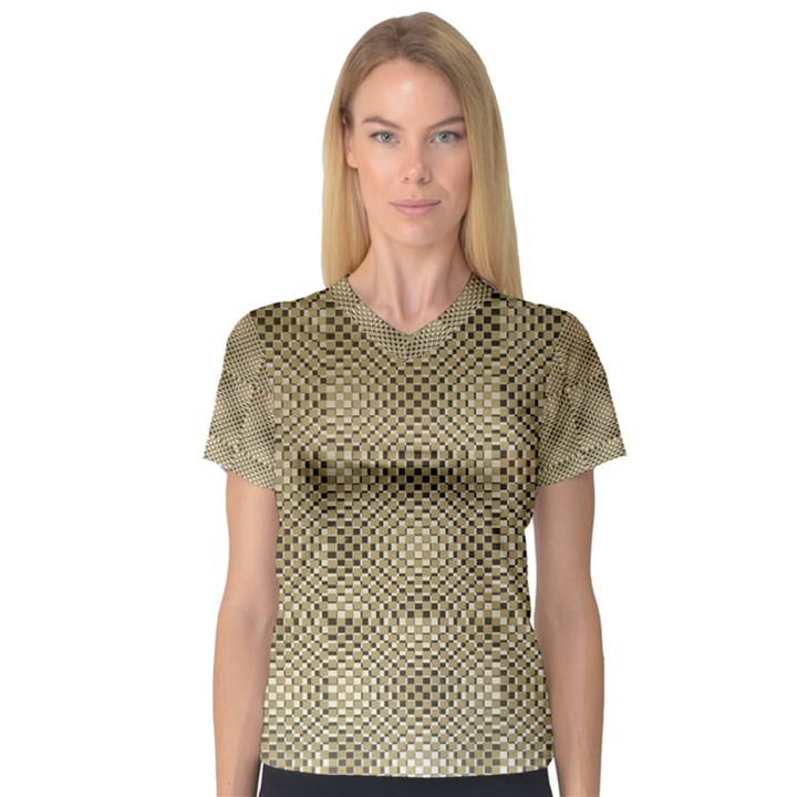 Fashion Style Glass Pattern Women s V-Neck Sport Mesh Tee