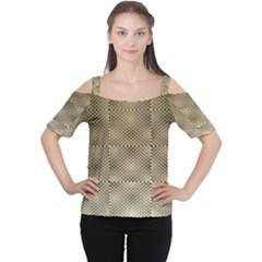 Fashion Style Glass Pattern Women s Cutout Shoulder Tee
