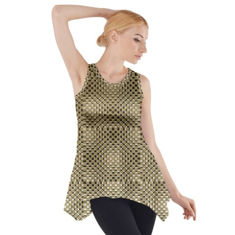 Fashion Style Glass Pattern Side Drop Tank Tunic