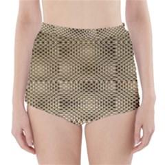 Fashion Style Glass Pattern High-Waisted Bikini Bottoms