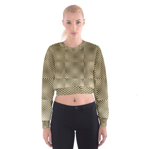Fashion Style Glass Pattern Women s Cropped Sweatshirt
