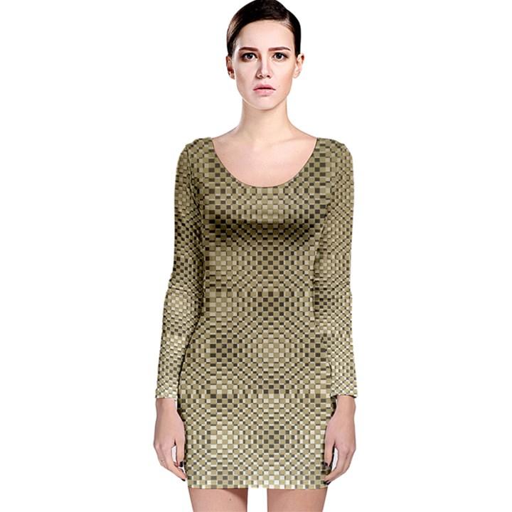 Fashion Style Glass Pattern Long Sleeve Velvet Bodycon Dress