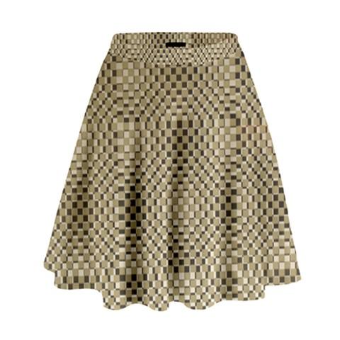 Fashion Style Glass Pattern High Waist Skirt