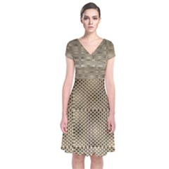 Fashion Style Glass Pattern Short Sleeve Front Wrap Dress