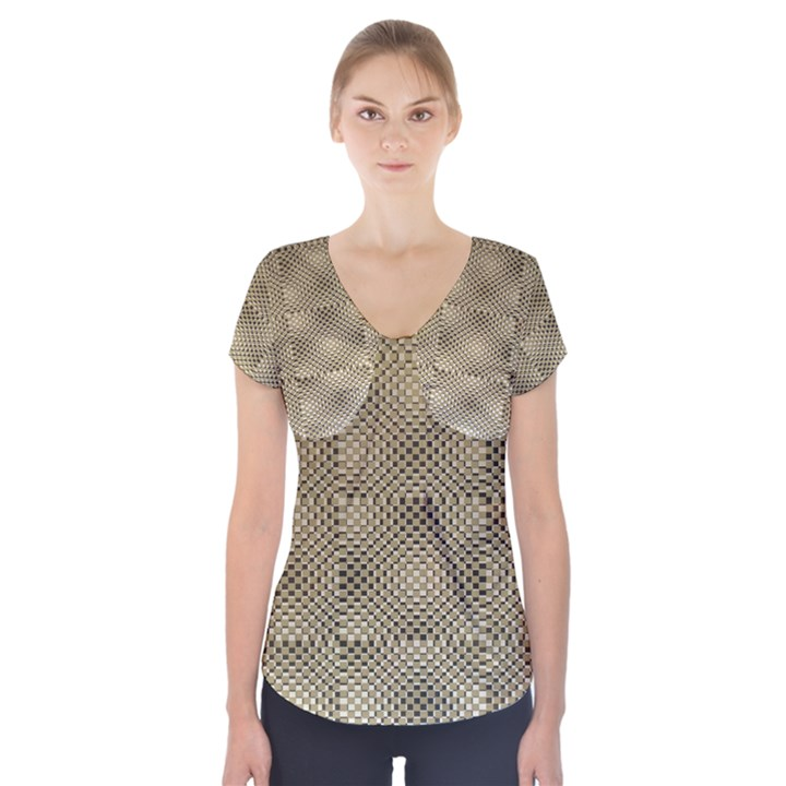 Fashion Style Glass Pattern Short Sleeve Front Detail Top