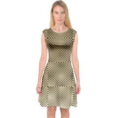 Fashion Style Glass Pattern Capsleeve Midi Dress