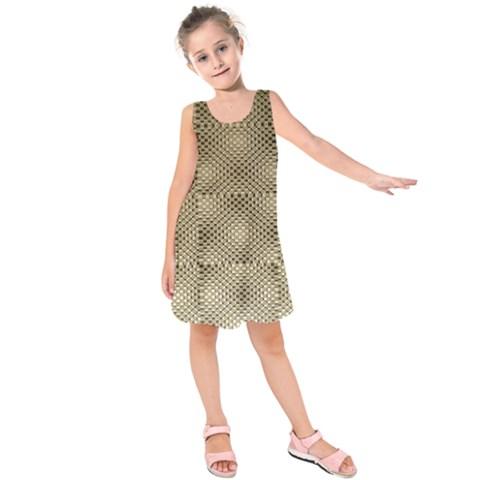 Fashion Style Glass Pattern Kids  Sleeveless Dress