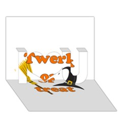 Twerk or treat - Funny Halloween design I Love You 3D Greeting Card (7x5)