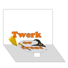Twerk Or Treat   Funny Halloween Design Circle Bottom 3d Greeting Card (7x5)