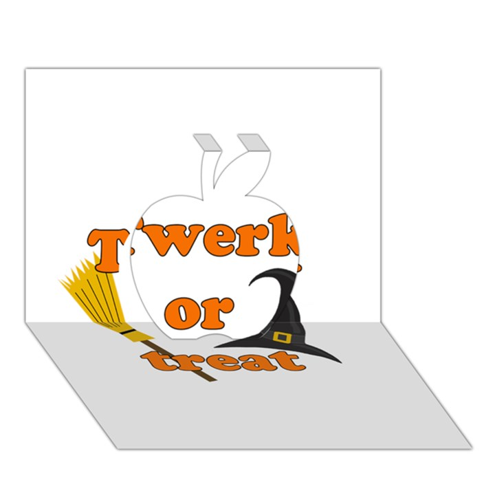 Twerk or treat - Funny Halloween design Apple 3D Greeting Card (7x5)