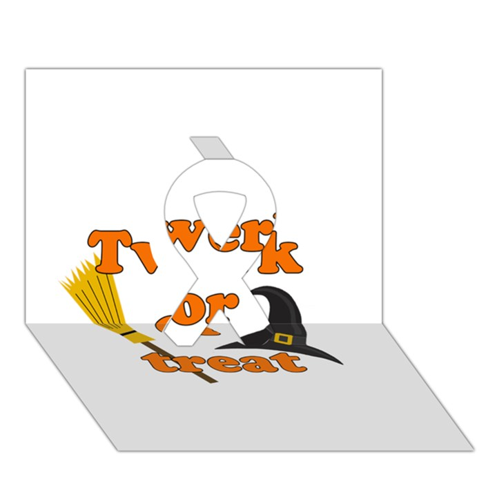 Twerk or treat - Funny Halloween design Ribbon 3D Greeting Card (7x5)