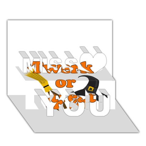 Twerk or treat - Funny Halloween design Miss You 3D Greeting Card (7x5)