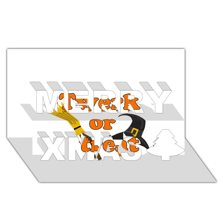 Twerk or treat - Funny Halloween design Merry Xmas 3D Greeting Card (8x4)