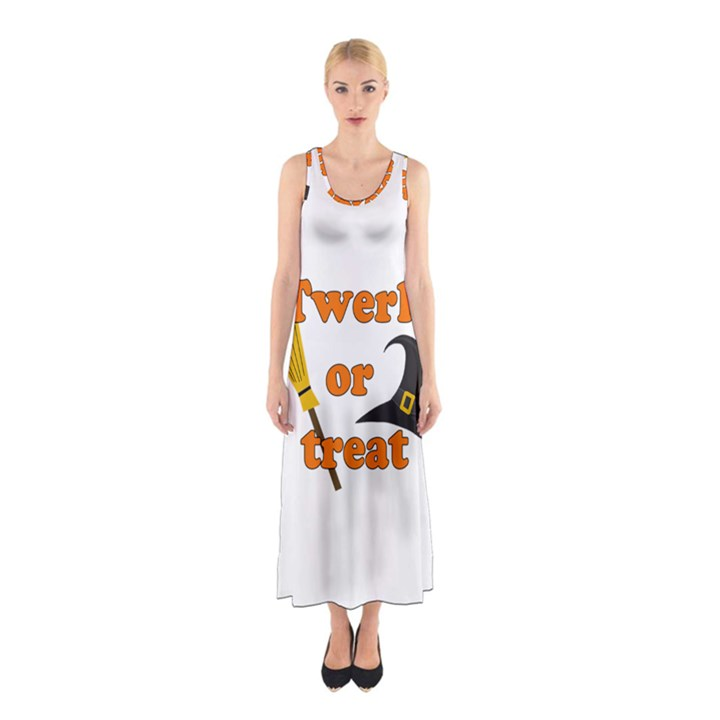 Twerk or treat - Funny Halloween design Sleeveless Maxi Dress