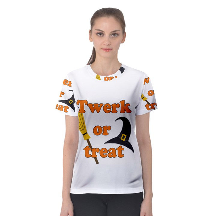 Twerk or treat - Funny Halloween design Women s Sport Mesh Tee