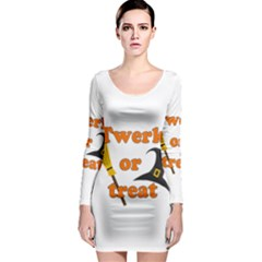Twerk or treat - Funny Halloween design Long Sleeve Bodycon Dress