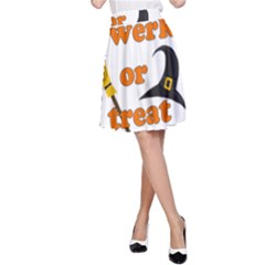Twerk Or Treat   Funny Halloween Design A Line Skirt