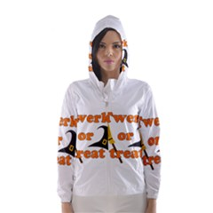Twerk Or Treat   Funny Halloween Design Hooded Wind Breaker (women)
