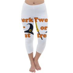 Twerk Or Treat   Funny Halloween Design Capri Winter Leggings