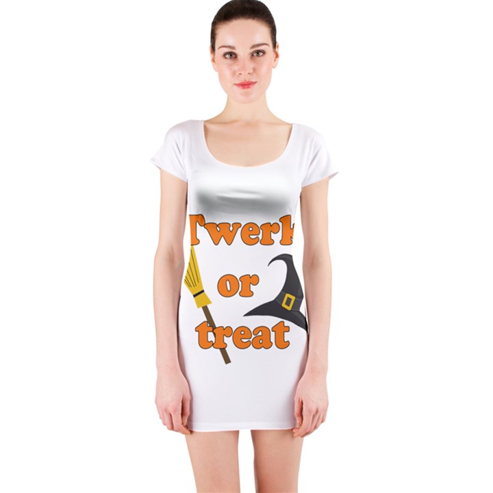 Twerk or treat - Funny Halloween design Short Sleeve Bodycon Dress
