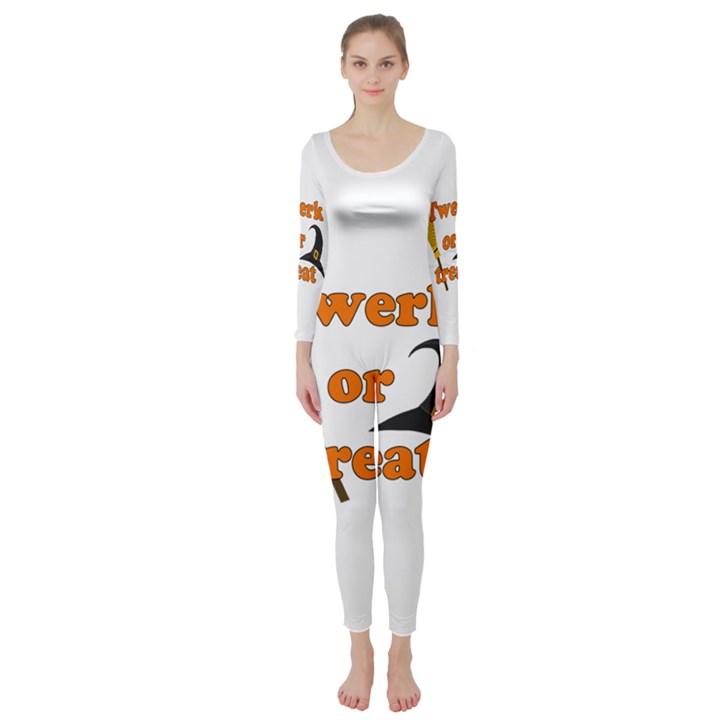 Twerk or treat - Funny Halloween design Long Sleeve Catsuit