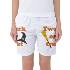 Twerk Or Treat   Funny Halloween Design Women s Basketball Shorts