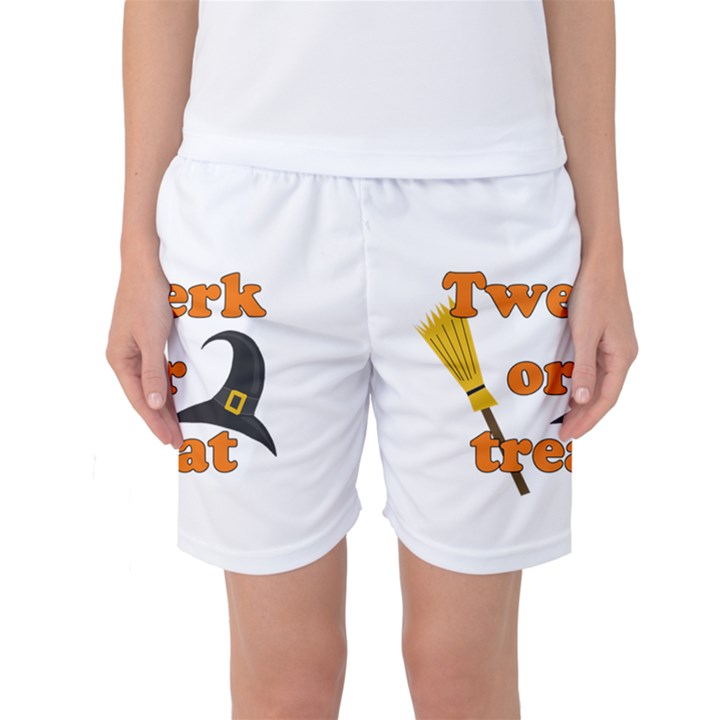 Twerk or treat - Funny Halloween design Women s Basketball Shorts