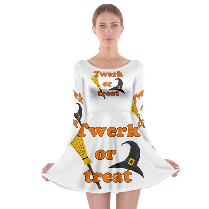 Twerk or treat - Funny Halloween design Long Sleeve Skater Dress
