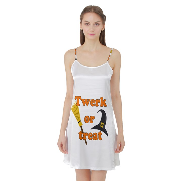 Twerk or treat - Funny Halloween design Satin Night Slip