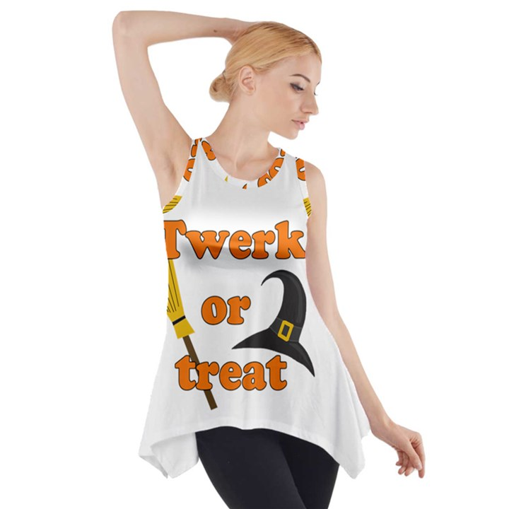 Twerk or treat - Funny Halloween design Side Drop Tank Tunic