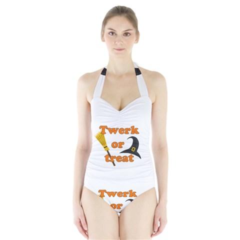 Twerk or treat - Funny Halloween design Halter Swimsuit