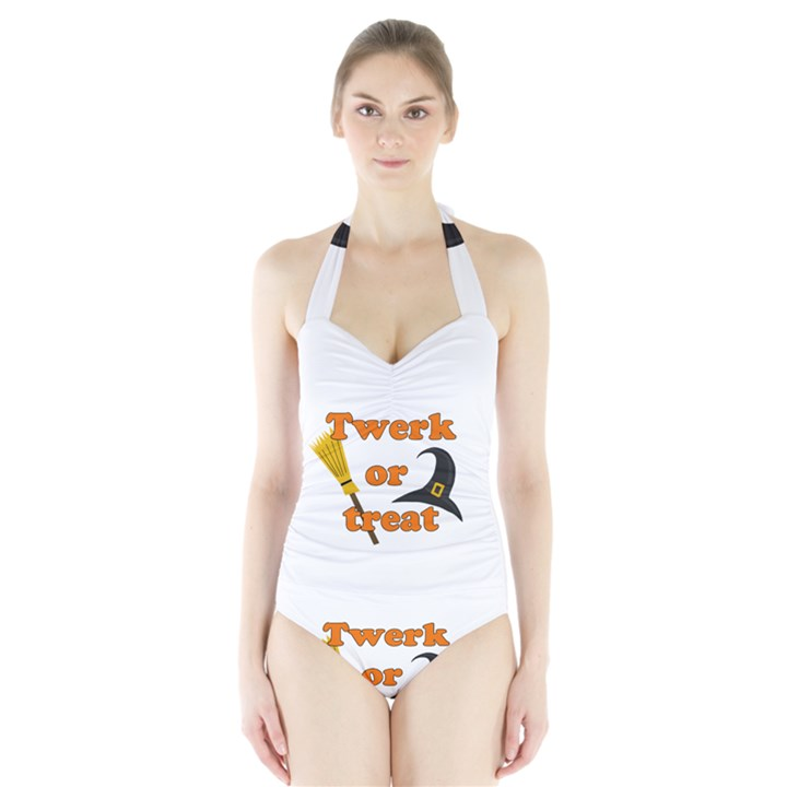Twerk or treat - Funny Halloween design Halter Swimsuit