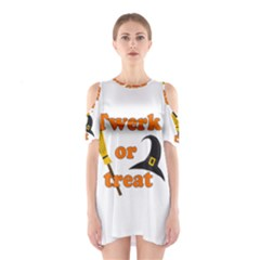 Twerk or treat - Funny Halloween design Cutout Shoulder Dress
