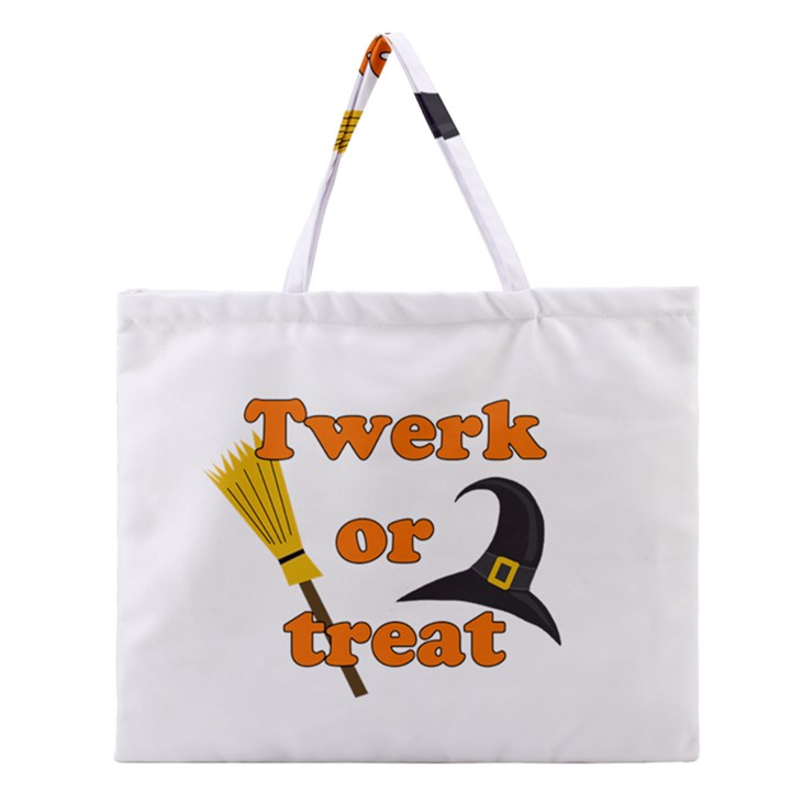Twerk or treat - Funny Halloween design Zipper Large Tote Bag