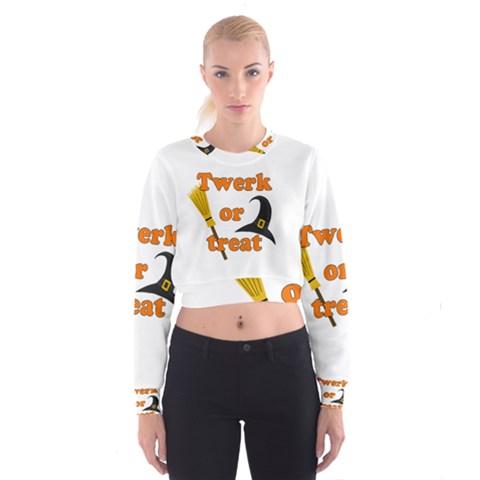 Twerk or treat - Funny Halloween design Women s Cropped Sweatshirt