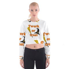 Twerk Or Treat   Funny Halloween Design Women s Cropped Sweatshirt