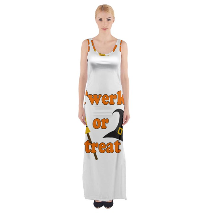 Twerk or treat - Funny Halloween design Maxi Thigh Split Dress