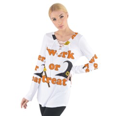 Twerk or treat - Funny Halloween design Women s Tie Up Tee