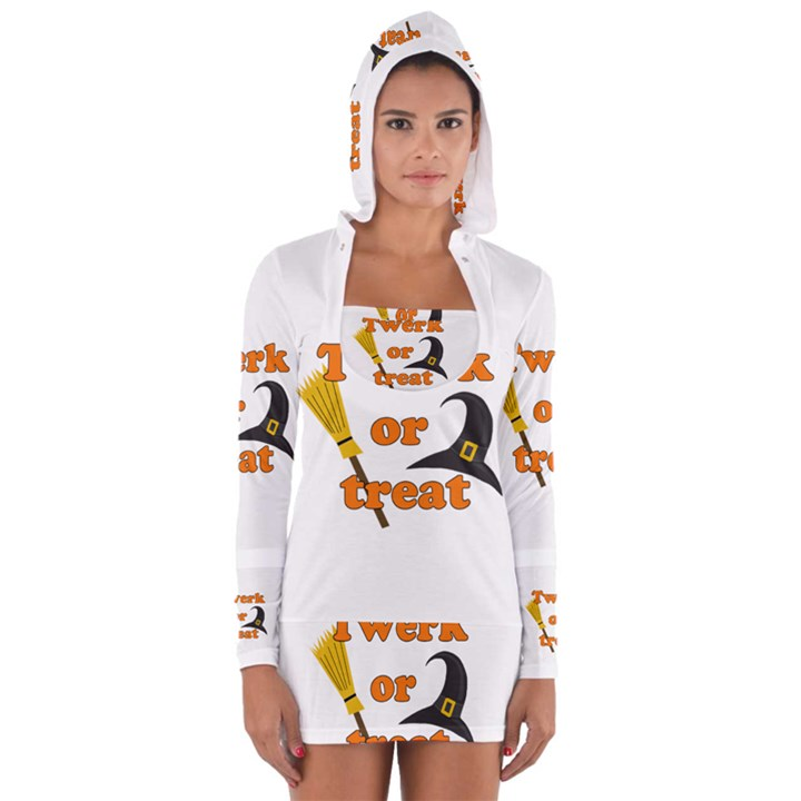 Twerk or treat - Funny Halloween design Women s Long Sleeve Hooded T-shirt