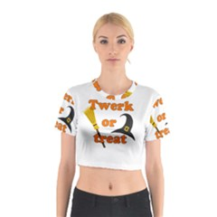 Twerk Or Treat   Funny Halloween Design Cotton Crop Top
