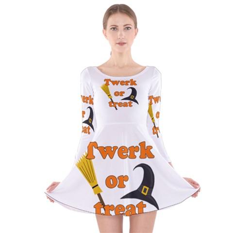 Twerk or treat - Funny Halloween design Long Sleeve Velvet Skater Dress