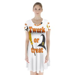 Twerk or treat - Funny Halloween design Short Sleeve V-neck Flare Dress