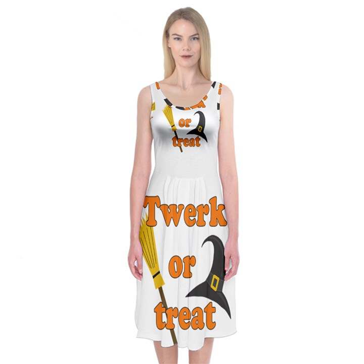 Twerk or treat - Funny Halloween design Midi Sleeveless Dress