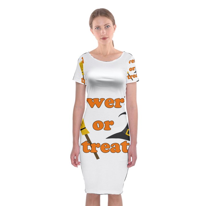 Twerk or treat - Funny Halloween design Classic Short Sleeve Midi Dress