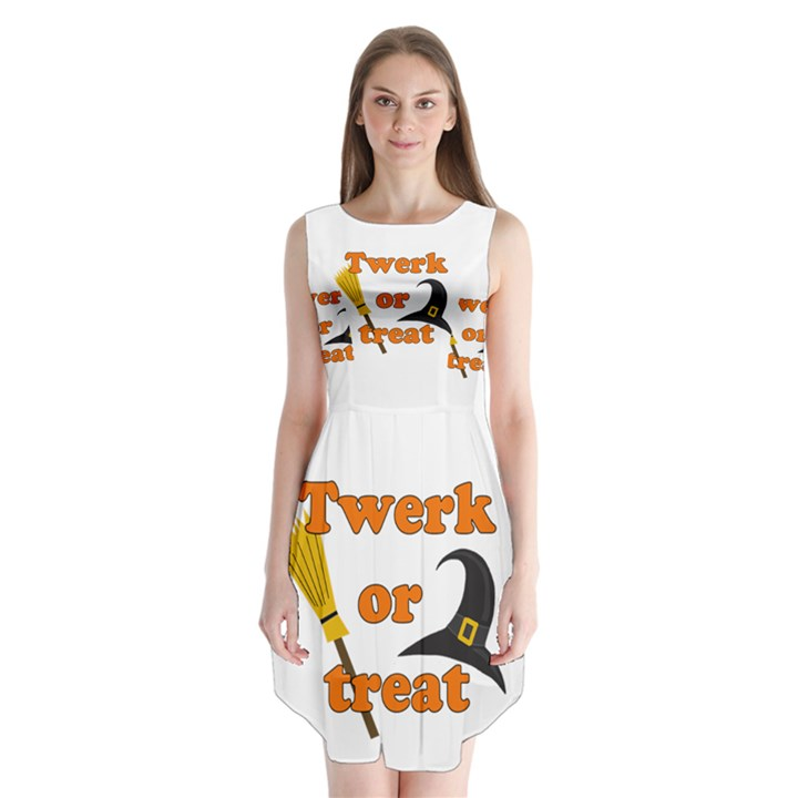 Twerk or treat - Funny Halloween design Sleeveless Chiffon Dress