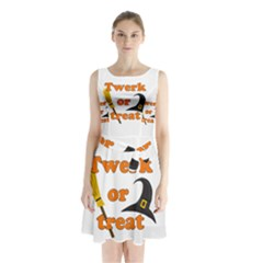 Twerk or treat - Funny Halloween design Sleeveless Chiffon Waist Tie Dress