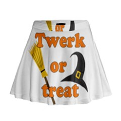 Twerk Or Treat   Funny Halloween Design Mini Flare Skirt
