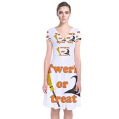 Twerk Or Treat   Funny Halloween Design Short Sleeve Front Wrap Dress